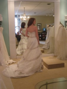 Bride Trying on 2Be Wedding Gown