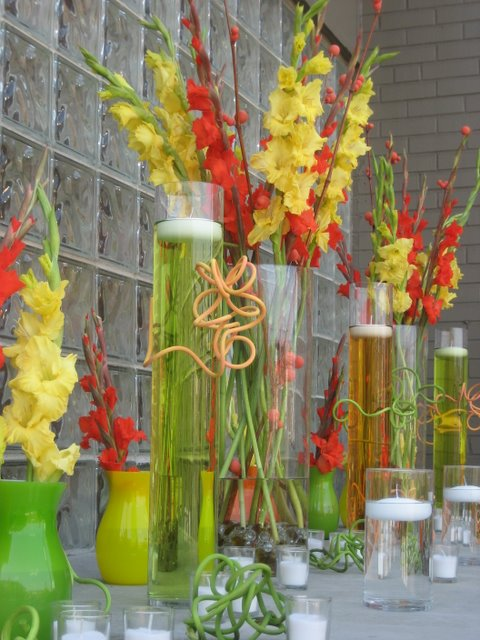 Contemporary Wedding Centerpiece in Yellow and Orange