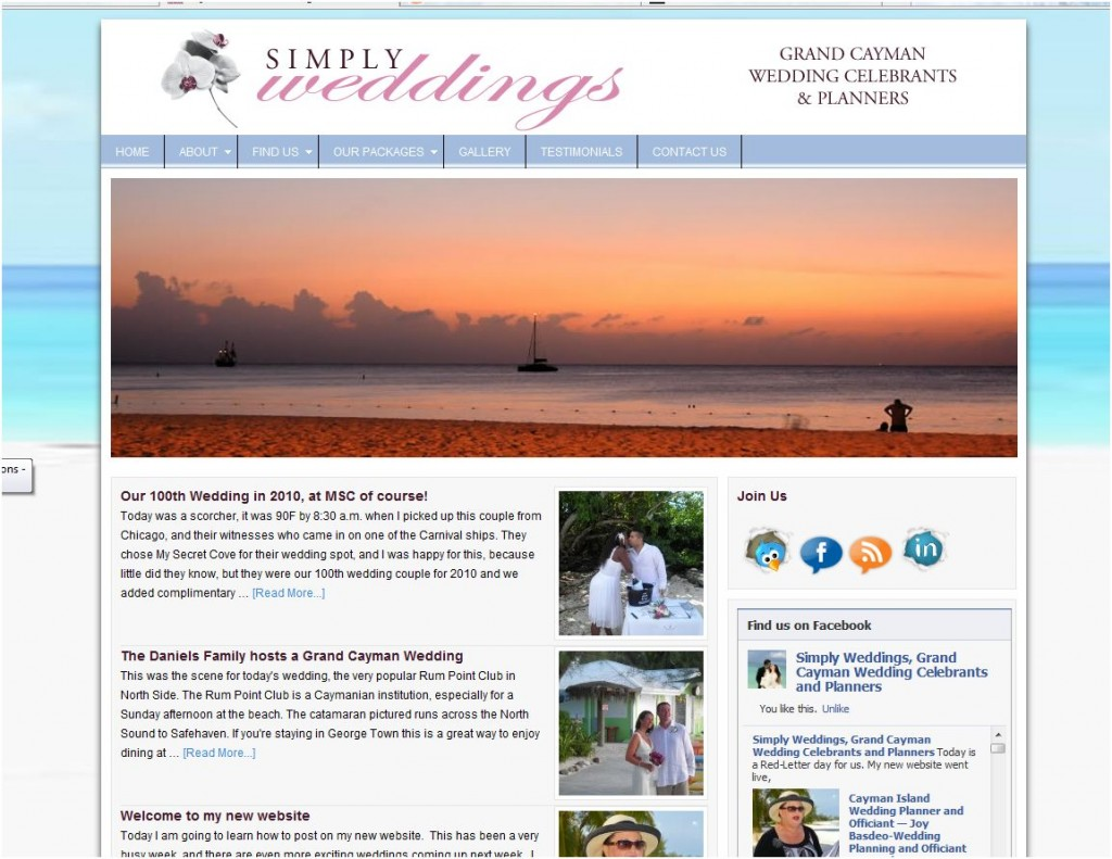 Website for a Cayman Island Wedding Planner