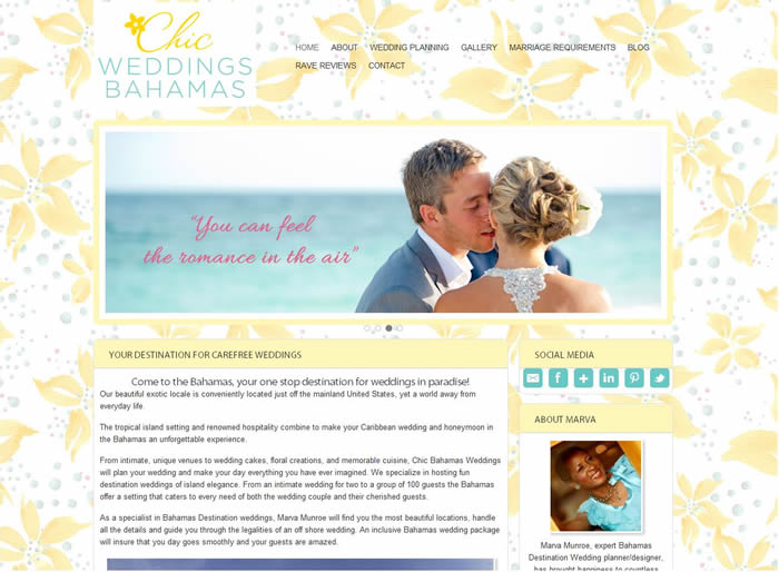 website for a destination wedding planner