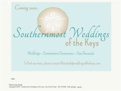 custom coming-soon page for new website for Key West Wedding Planner