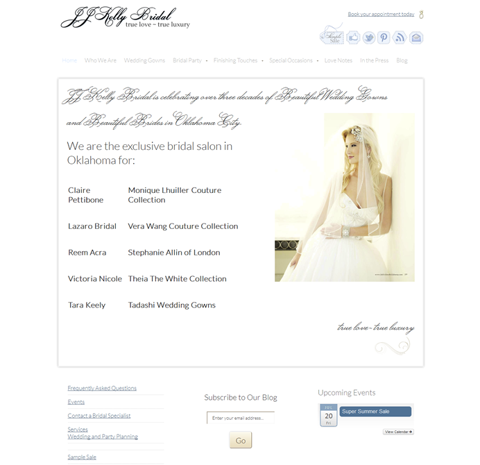 Website designed for a Bridal Salon
